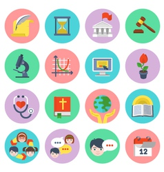 Modern Flat School Icons Set vector image vector image