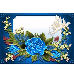 Roses Ornament on Vintage Frame vector image vector image
