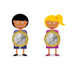 children holding euro coin vector image vector image