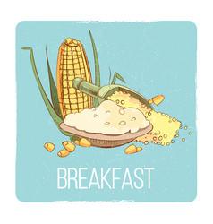 corn porridge breakfast card - gluten free vector image