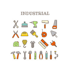 different instruments thin line color icons set vector image