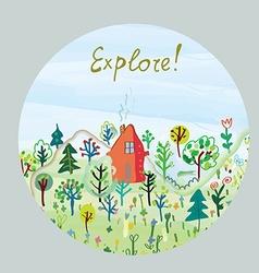 Explore nature card - round design vector image