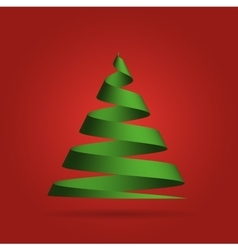 Green ribbon in a shape of Christmas tree vector image vector image