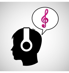 head silhouette listening music clef vector image vector image