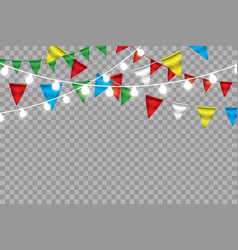 rainbow bunting banner garland isolated on white vector image