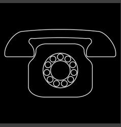 retro telephone white color path icon vector image vector image