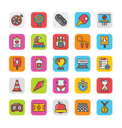 Sports and games flat icons set 4 vector