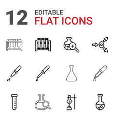 12 experiment icons vector