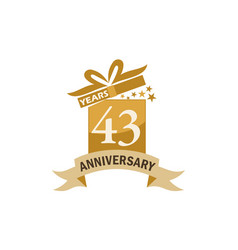 43 years gift box ribbon anniversary vector
