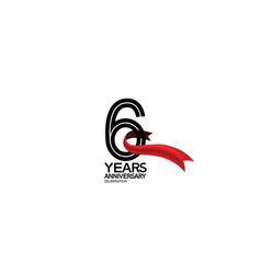 6 years anniversary logotype flat black color vector