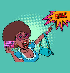 african woman with a credit card shouts discount vector image