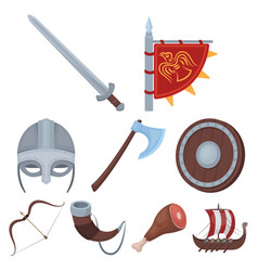 ancient warriors of the vikings on the ship vector image