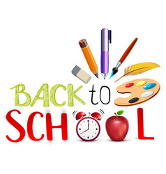 back to school text concept education symbol vector image