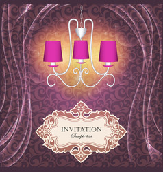Background with curtains and a chandelier with vector
