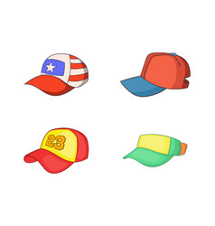 baseball cap icon set cartoon style vector image