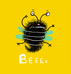 Bee cute fluffy doodle cartoon vector