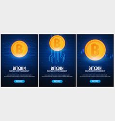 Bitcoin digital cryptocurrency mining farm vector