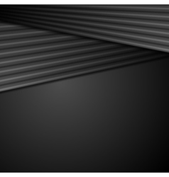 Black abstract tech background with smooth stripes vector image