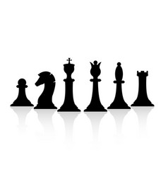 black chess pieces set chess strategy and tactic vector image