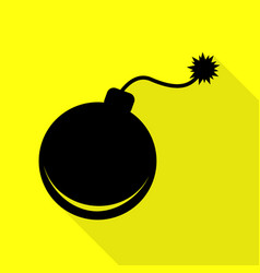 bomb sign black icon with flat style vector image