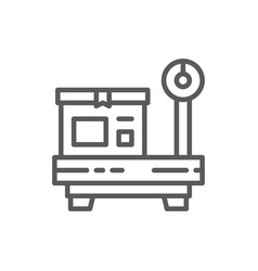 Box on scales package weighing line icon vector