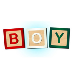 Boy word blocks vector