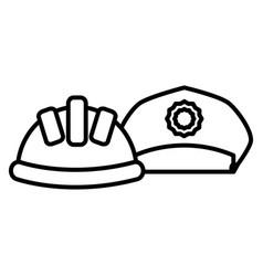 builder helmet with police hat vector image