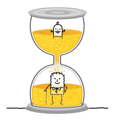 Cartoon baby and senior in a big hourglass vector