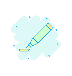 cartoon highlighter marker pen icon in comic vector image