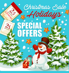 Christmas and new year sale special offer banner vector