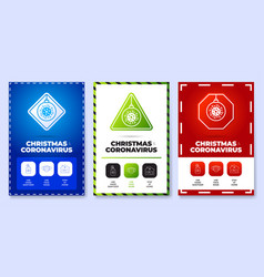 christmas coronavirus all in one icon poster set vector image