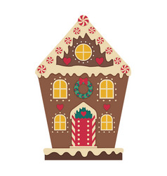 christmas gingerbread house decorated with icing vector image