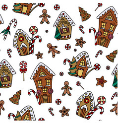 christmas seamless pattern with gingerbread house vector image
