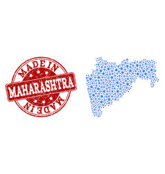 Collage map of maharashtra state with mechanics vector