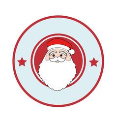 Color circular frame with face of santa claus vector
