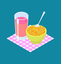 Corn porridge and fruit juice breakfast healthy vector