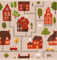 cozy city map nursery seamless pattern with roads vector image