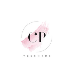 Cp c p watercolor letter logo design with vector