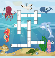 Crossword kids magazine book puzzle game of sea vector