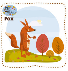 cute fox on a background of a landscape with vector image