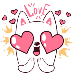 cute love cat little princess characters vector image
