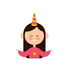 cute unicorn girl design icon vector image