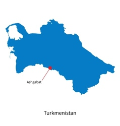 Detailed map of Turkmenistan and capital city vector