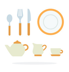 dinnerware with orange piping and tea service vector image