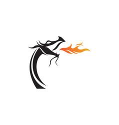 dragon flat color logo template vector image