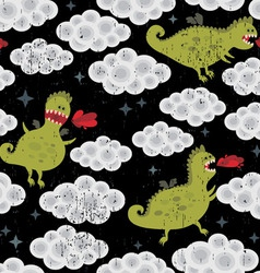 Dragon in clouds vector image