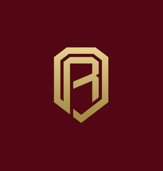 Elegant initial r shield secure logo design vector
