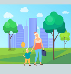 family leisure in city park mom and son vector image