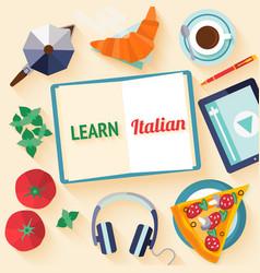 Flat design web banner for italian language school vector