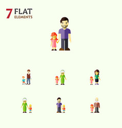 Flat icon people set of father grandma grandpa vector